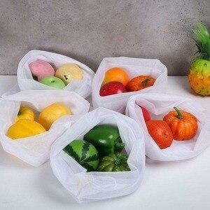 5 шт. Экологичные сумки многоразовые сетчатые сумки моющиеся для хранения продуктов фруктовые овощные игрушки сумка для мелочей