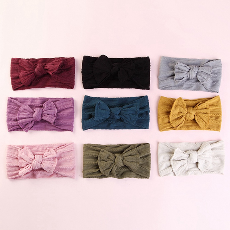 2019 New Newborn Hair Accessories Solid Color Baby Nylon Hair Strap Wide Bow Headband  Hair Accessories Gifts