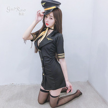Women Sexy Cosplay Adult Pilot Costumes Flight Captain Cosplay Uniform Party Nightclub Stewardess Dress Flight Attendant Outfits
