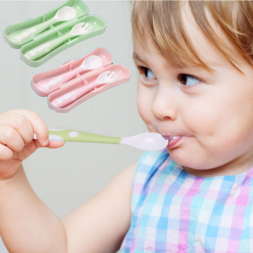 2Pcs Safe Plastic Baby Spoon Fork Set Learning Tableware Children Flatware