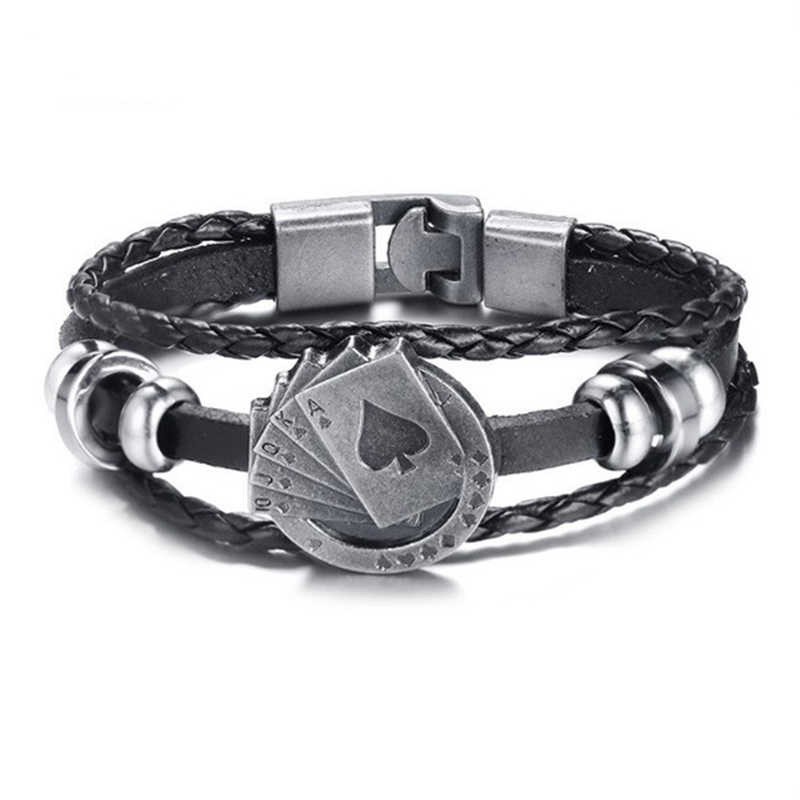 """diesel for successful liying"" Punk Men's Leather Bracelet Multilayer Leather  Alloy Beads Bracelet for Women Nautical Jewelry"