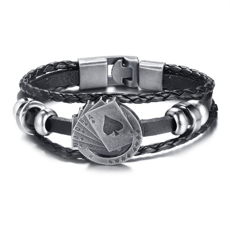 """""""diesel for successful liying"""" Punk Men's Leather Bracelet Multilayer Leather Alloy Beads Bracelet for Women Nautical Jewelry"""