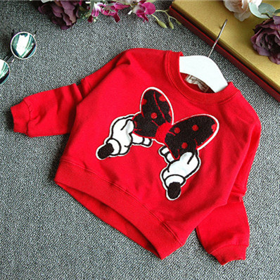 New brand red and black girls spring clothing suit kid cartoon mouse cotton children tops shirt with mini tutu skirt hollow set 4