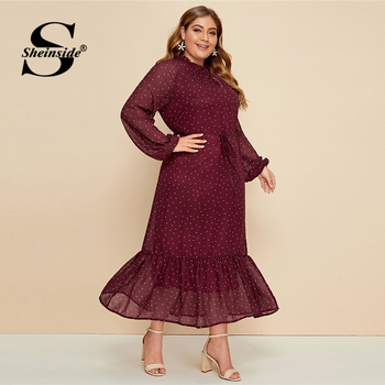Sheinside Plus Size Burgundy Polka Dot Chiffon Dress Women 2019 Autumn Lantern Sleeve A Line Dresses Ladies Frilled Neck Dress