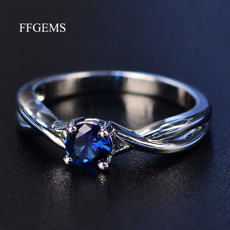 FFGems Gemstones Amethyst Silver Ring Blue Sapphire Ring Silver 925 Jewelry Aquamarine Rings For Women Engagement Rings