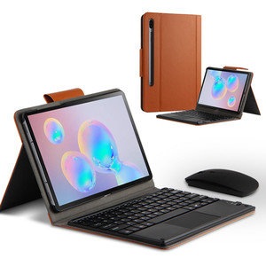 Image 1 - Case For Samsung Galaxy Tab S6 10.5 SM T860 SM T865 Tablet Protective Bluetooth keyboard Protector Cover PU Leather Case mouse