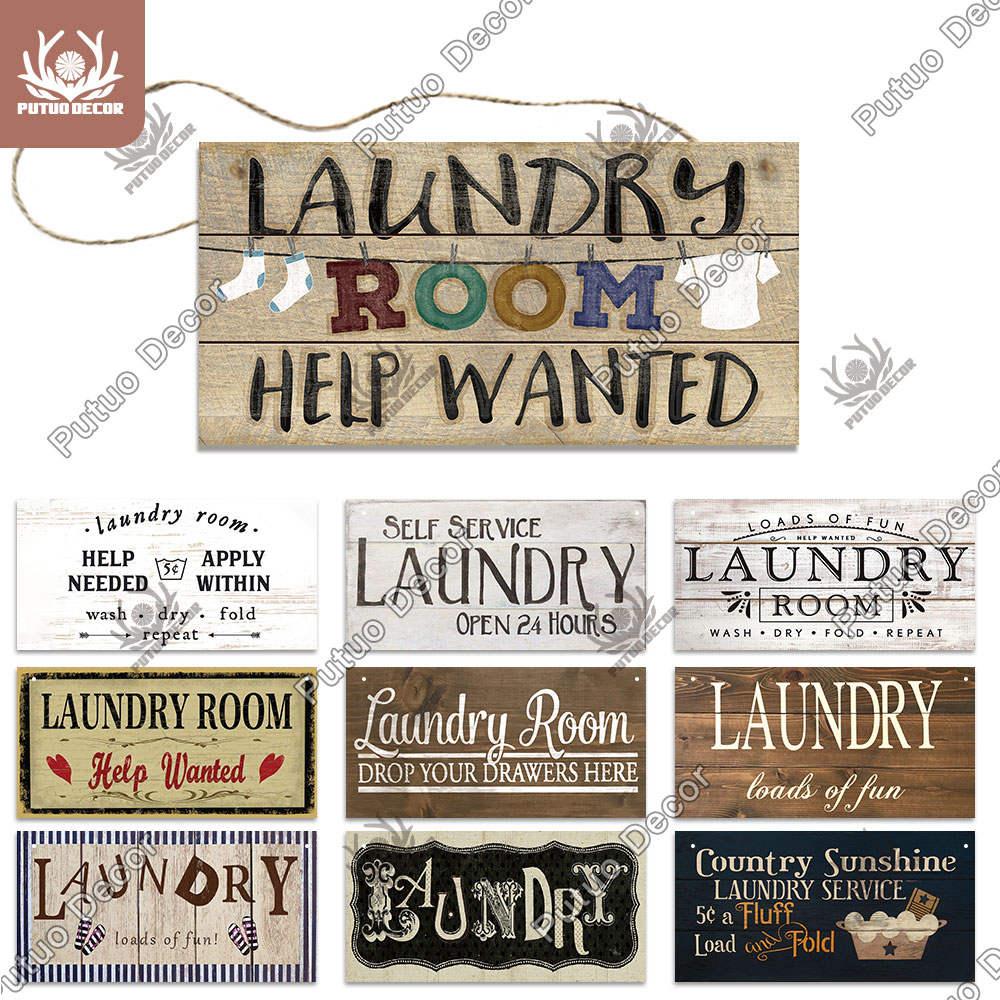 Plaque-Signs Decor Decorative-Plaque Wooden Wall-Art Laundry-Room Washhouse