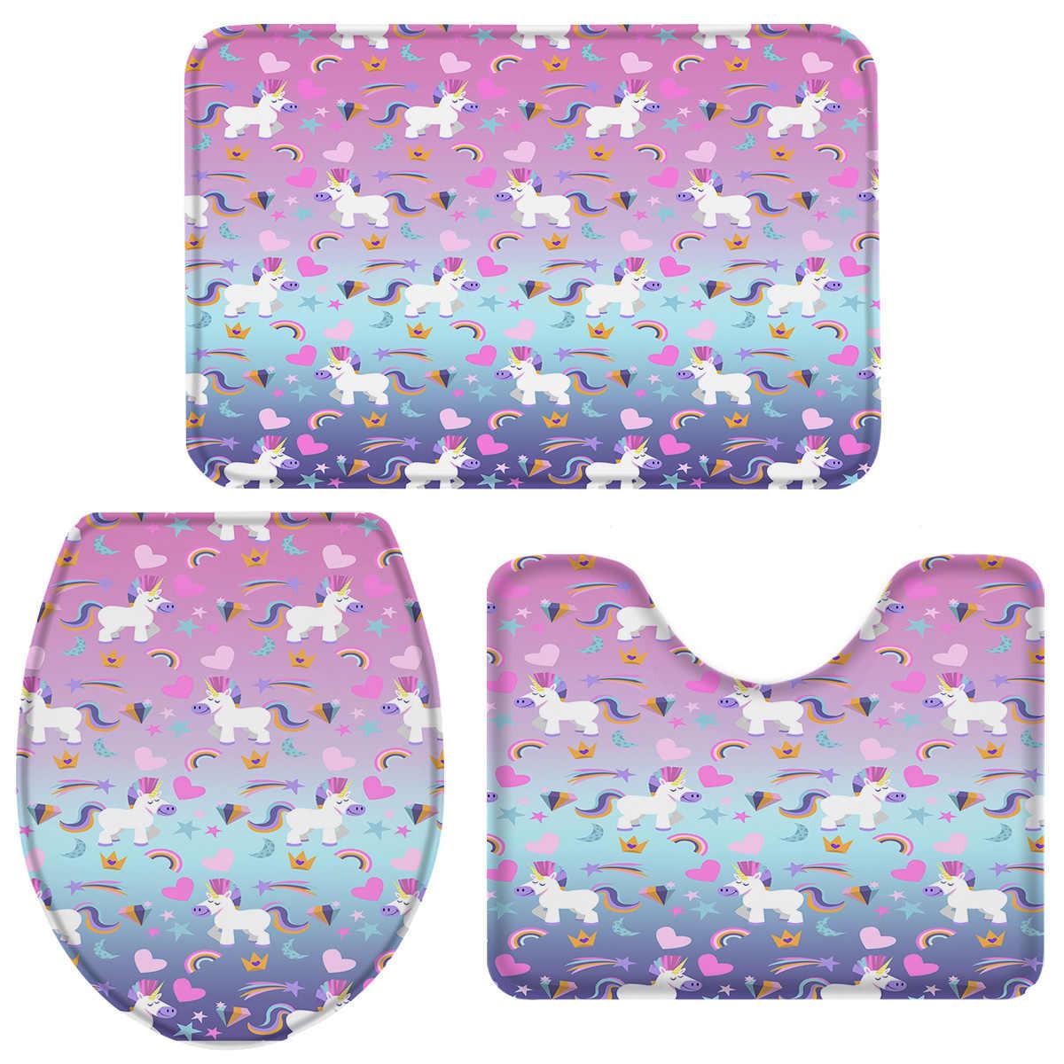 10 Pieces Bathroom Set Rainbow And Unicorn Diamond Bath Set Toilet