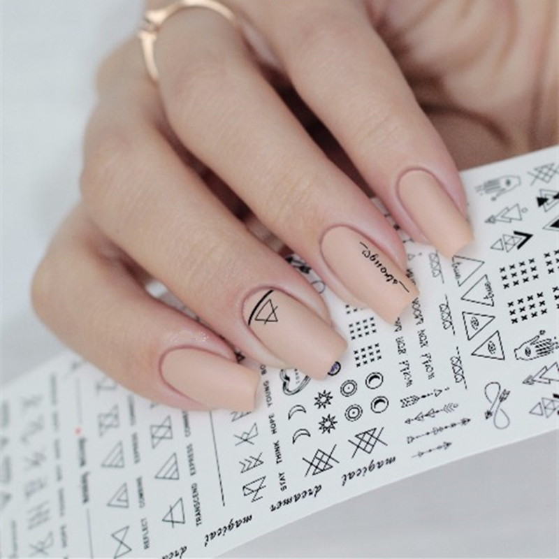 Геометрический ногтей Вода наклейки линии Dreamcacher Сердце Луна узор маникюр Передача Наклейки Советы Nail Art Украшение Аксессуар