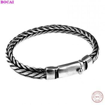 BOCAI s925 sterling men's bracelet 925 pure silver bracelet hand-woven personality male money bracelet Thai silver bracelet