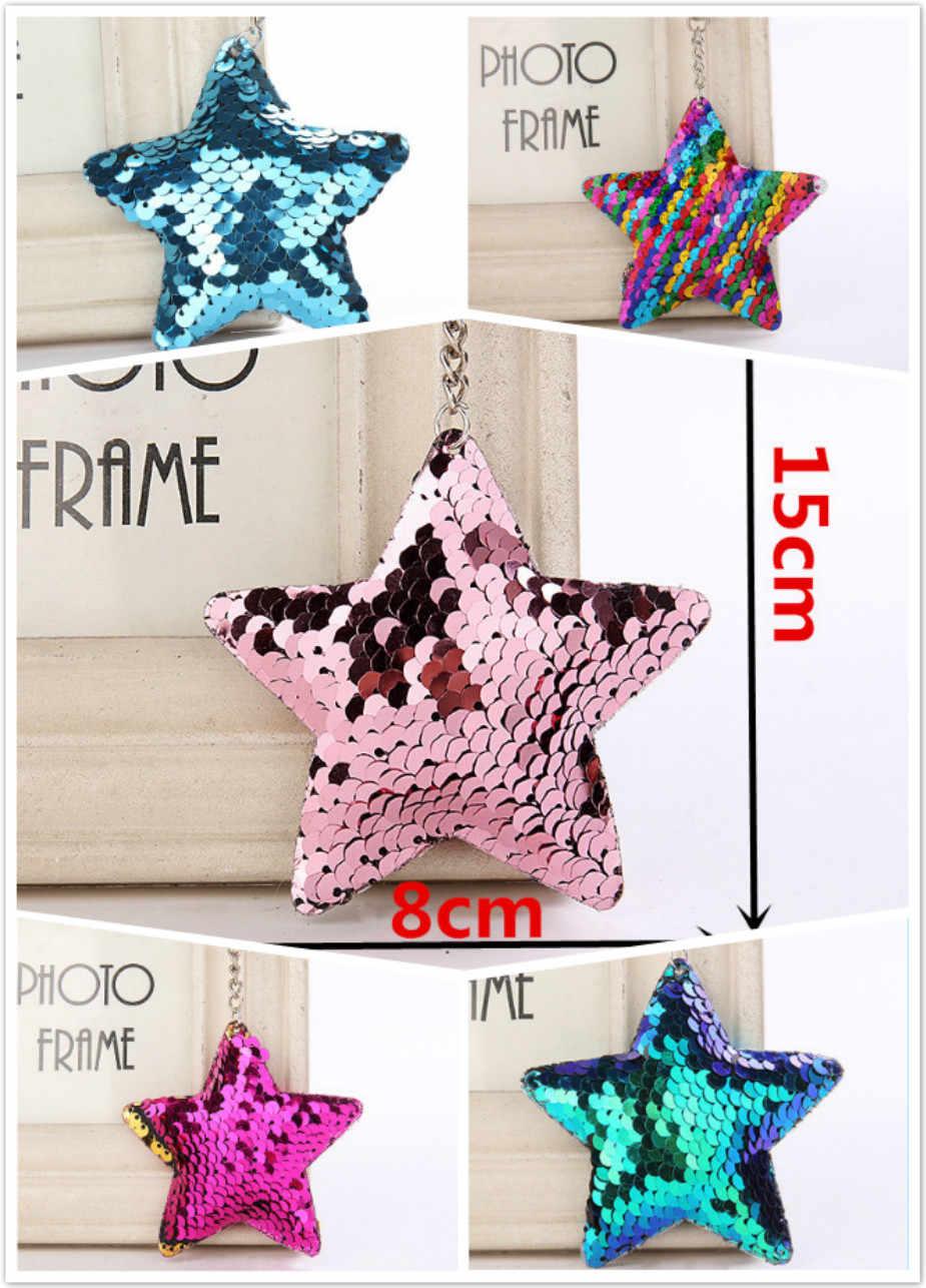Suef 1pcs Five-pointed Star Sequin Keychain Party Small Gift Wedding Guests Bridesmaid Gift Trinkets Party Favors@1