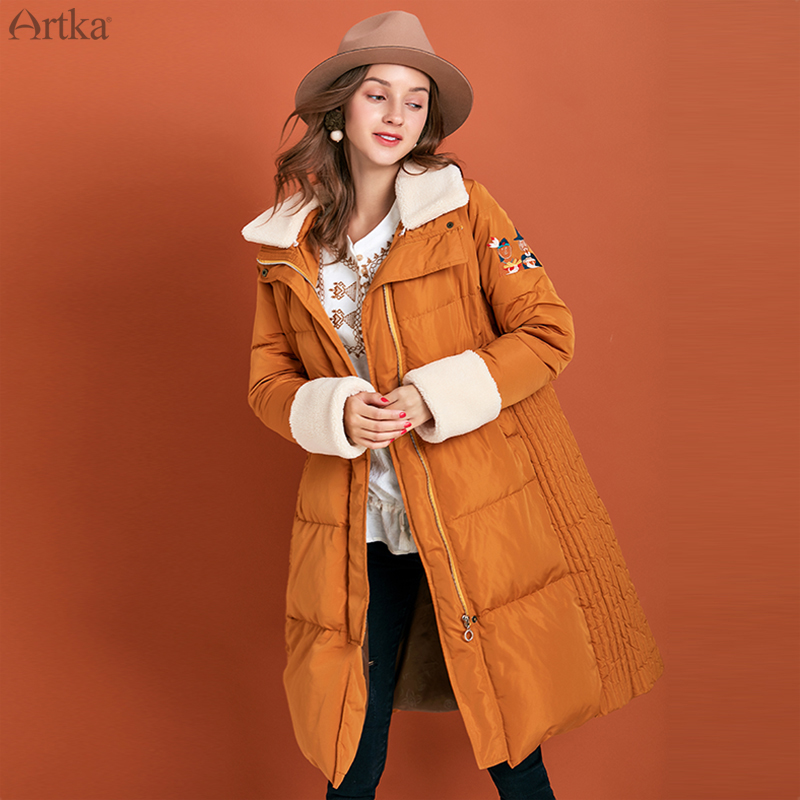 ARTKA 2019 Winter New Women Down Coat Cartoon Embroidery 80% White Duck Down Long Outwear Detachable Fur Collar Coat ZK10597D