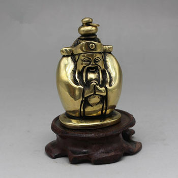 Collect China Antique Brass Carving God Of Wealth Snuff Bottle Exquisite Statue Without Base