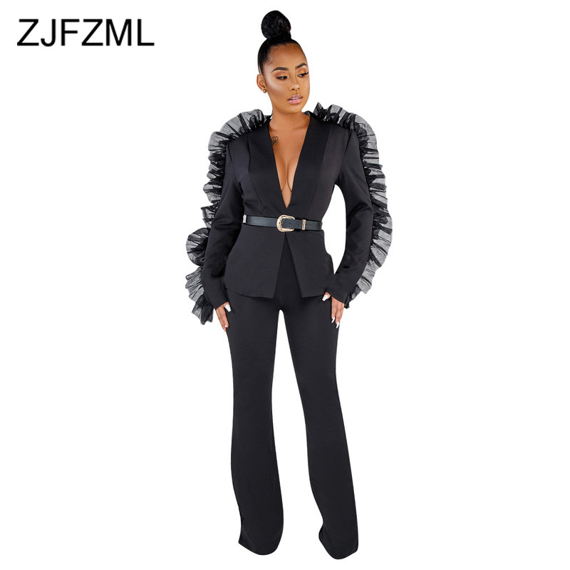 Causal Solid Sheer Mesh Patchwork Autumn Two Piece Blazer Set Women Long Sleeve Slim Blazers And Wide Leg Pants Sexy Club Outfit