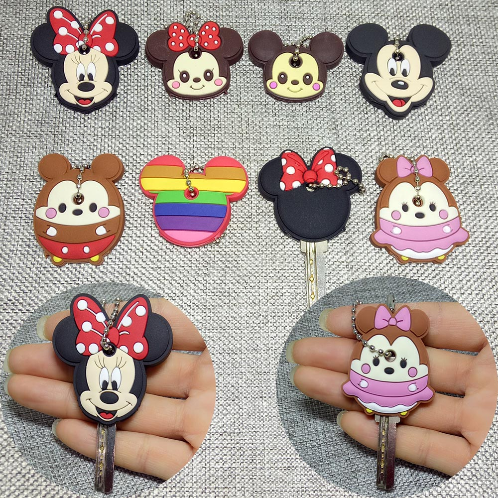 8pcs/lot Cartoon Keychain Silicone Protective Key Case Cover For Key Control Dust Cap Key Chain Ring Holder For Women & Child