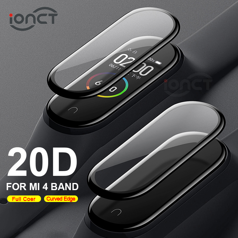 20D Curved Edge Protective for xiaomi mi band 4 glass Scratch-resistant miband 4 film Full cover HD mi band 4 screen protector(China)