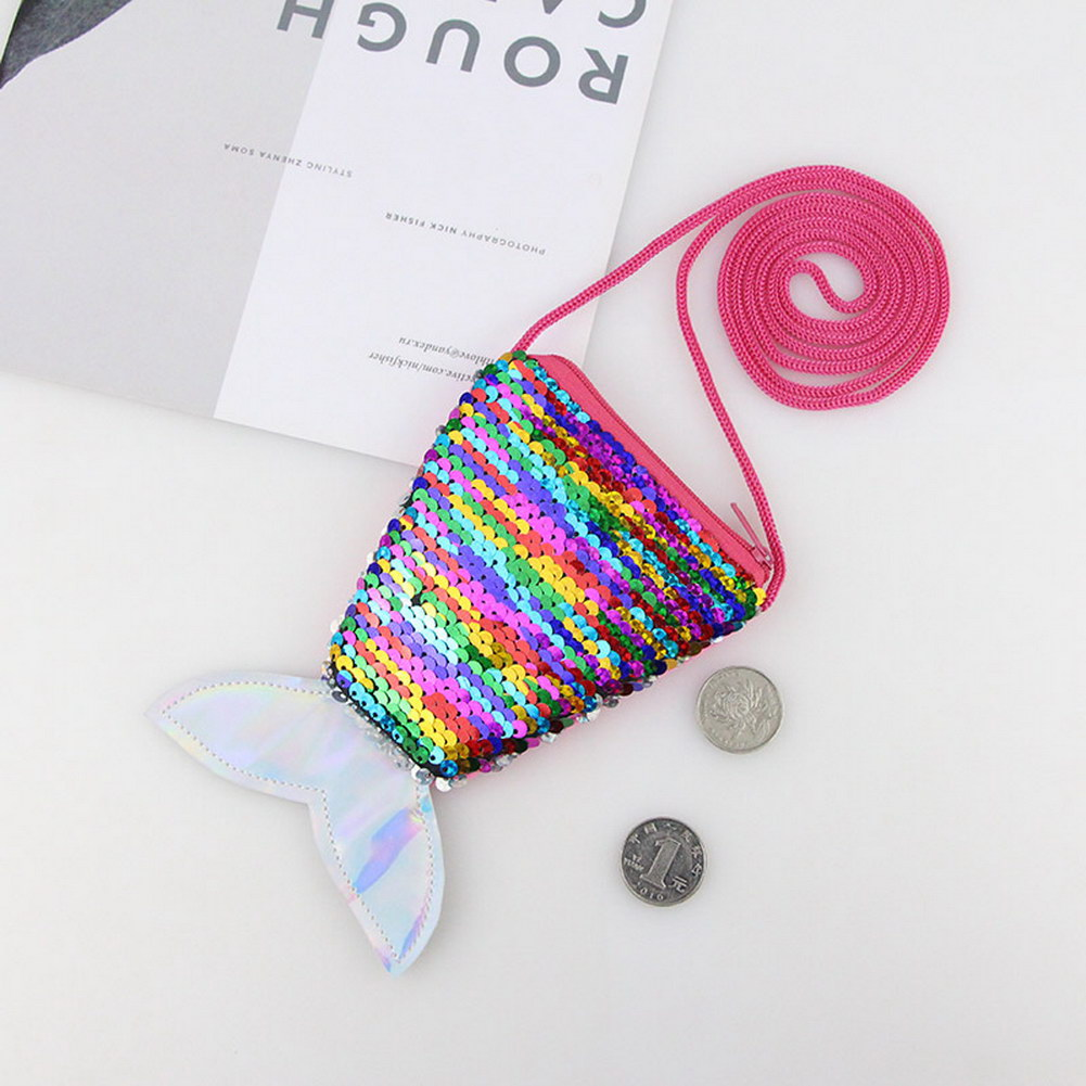 Shoulder-Bag Coin-Storage Sequin Girls Casual for Daily Fish-Tail-Crossbody-Bag