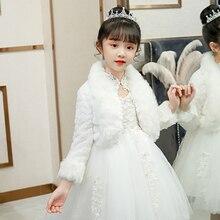 Manteau d'hiver à manches longues pour filles 2-12T, peluche épaisse de princesse, châle blanc, boléro chaud, veste de fête d'anniversaire et de mariage