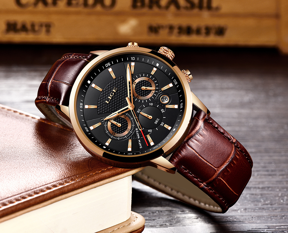 H1b555581bcb4483e8219b218db9c4740Z LIGE New Men Watch Top Brand Blue Leather Chronograph Waterproof Sport Automatic Date Quartz Watches For Mens Relogio Masculino