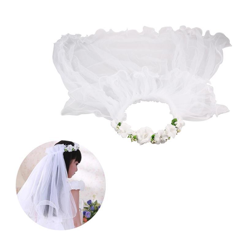 Two Layers White Wedding Veils Flower Girl Bridal Veils Communion Hair Wreath For Bride Marriage Wedding Accessories