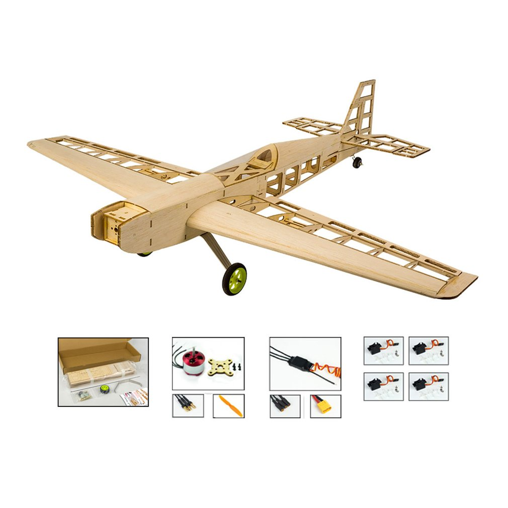EP Balsa Wood Training Plane 0.8M Wingspan Biplane RC Airplane Aircraft Woodiness Model Toys DIY KIT/PNP for Kid image