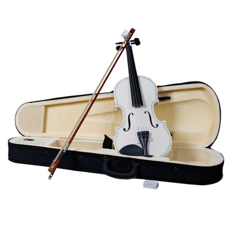 White New Beginner Violin 4/4 59cm Acoustic Violin+Bow +Case +Rosin Accessories image
