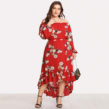 Plus Size Lady Maxi Dress Bohemian Vintage Floral Women Dress Long Sleeve Autumn Fashion Beach Wedding Party Female Dress fashion long sleeve maxi dress women autumn robe casual plus size boho dresses female vintage bohemian beach floral long dress