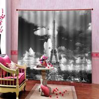 Dark Clouds Shower Curtain Paris France Tower Window Curtains For Living room bedroom Custom any size