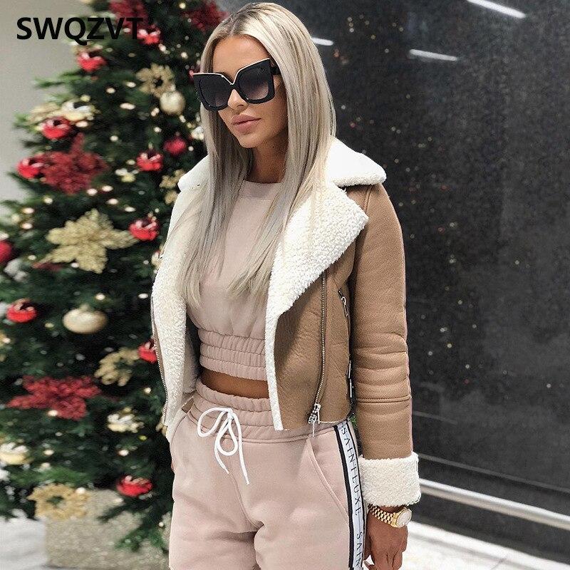 Women   Jacket   coat Warm with Fur Turn-down Collar Outwear   Basic     Jacket   Winter Coats leather   Jacket   Women 2019 casaco feminino