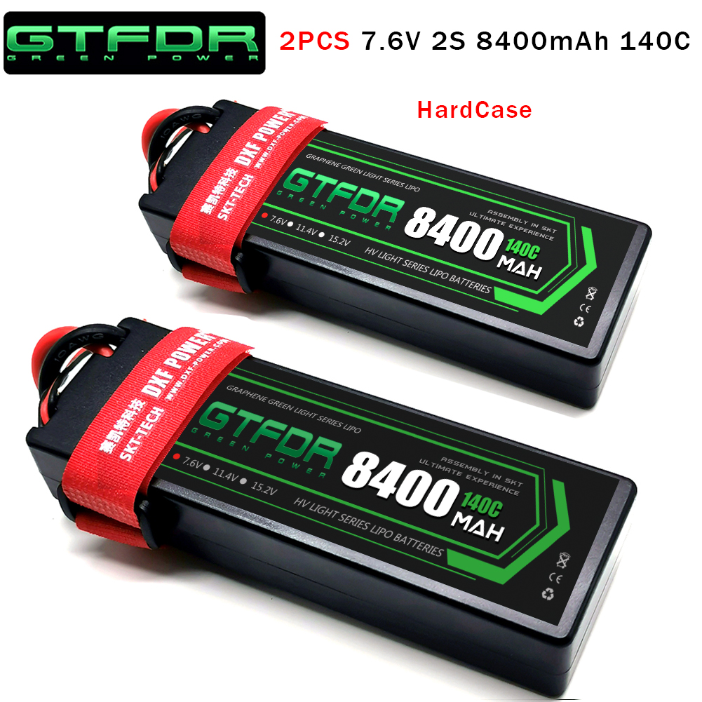 DXF Lipo battery 2S 7.4V 7.6V 5200mAh 6200mAh 6500mAh 8400mAh 100C 200C 140C 280C HardCase For RC 1/8 Parts  Buggy Cars truck