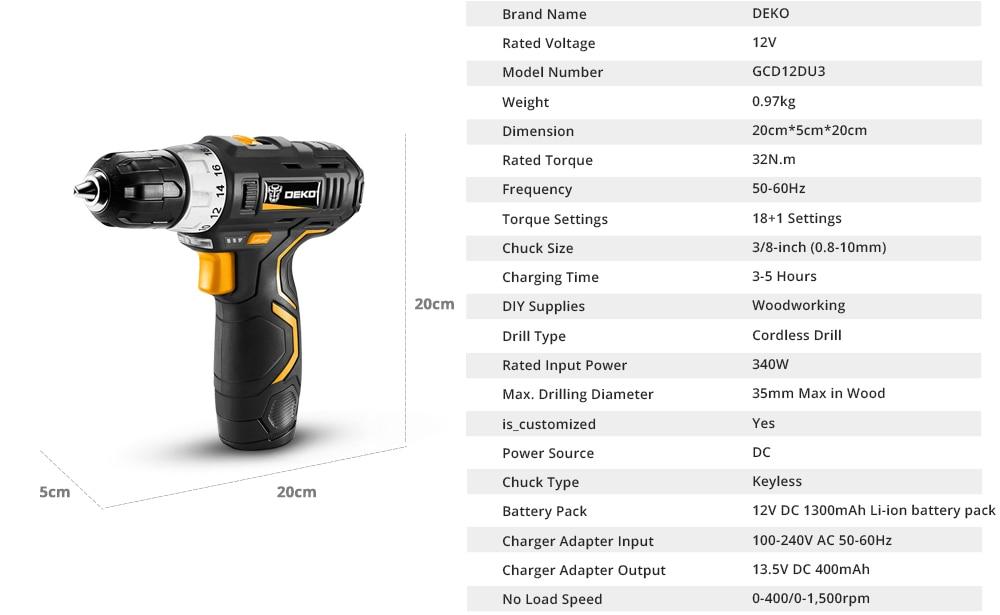 DEKO GCD12DU3 Cordless drill Specification