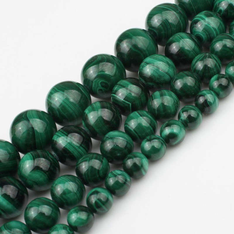 Clearance SaleBeads Necklace Diy Bracelet Jewelry-Making Loose-Stone Round Natural Malachite Fit Needlework