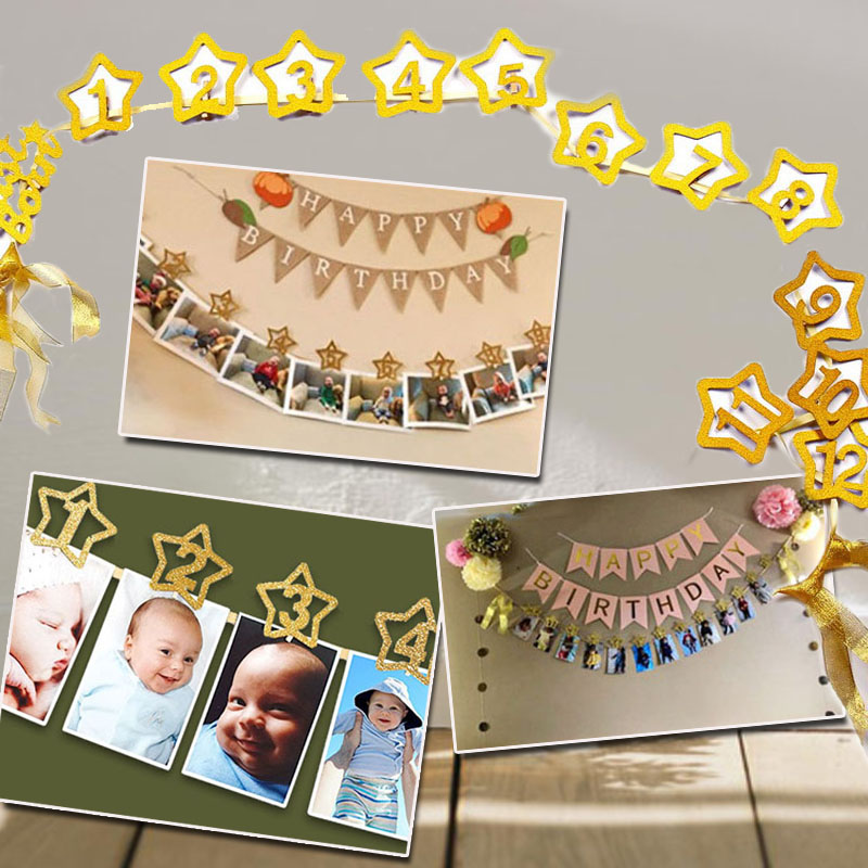 1set 0-12 Month Baby Photo Banner With Clip Baby Shower Gold Banner 1st Birthday Party Decorations Cartoon Hat