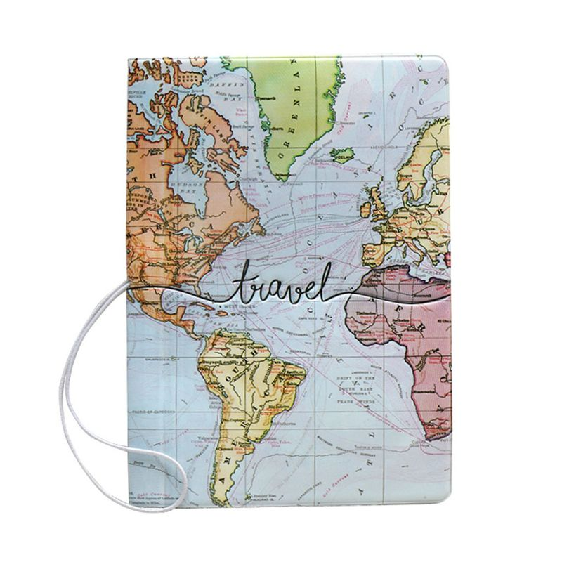 THINKTHENDO Portable World Map Travel <font><b>Passport</b></font> ID Card Cover Holder Case Protector image