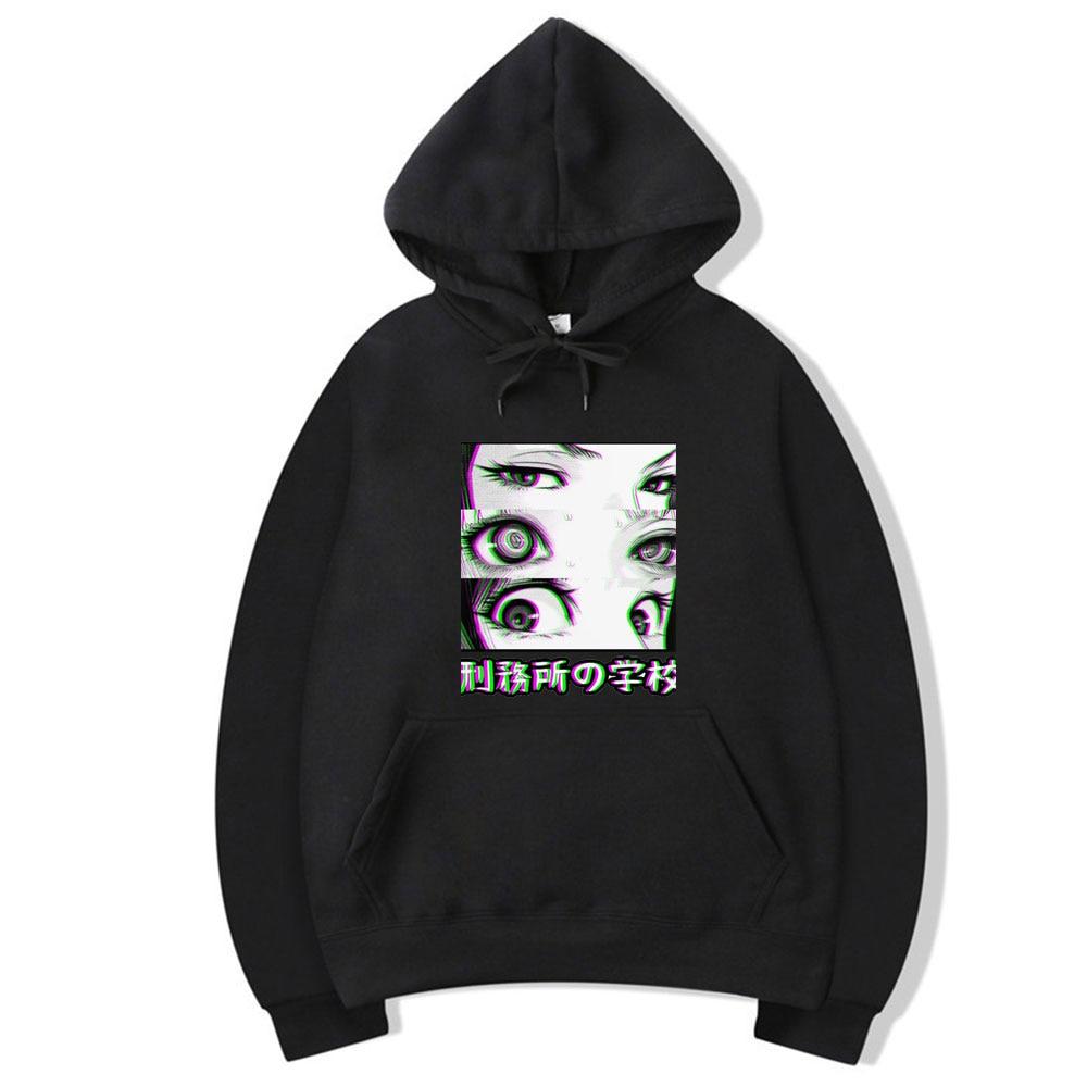 2020 Spring Winter Hot Sale Japan Anime Prison School Eyes Sad Men Sweatshirt Hoodies Casual Loose Fit Hip Hop Fashoin Pullover