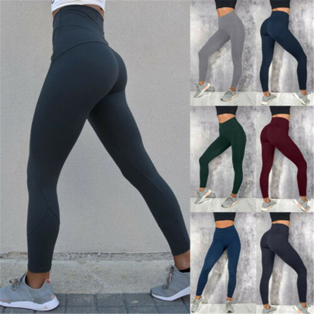 Women High Waist Fitness Leggings Ladies Solid Color Long Scrunch Leggings Ankle-Length Woman Casual Bottoms Autumn Clothes S-XL