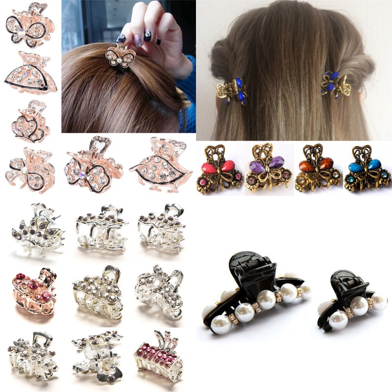 Women Girls Geometric Hair Claw Clamps Hair Crab Pearl Butterfly Hair Clip Claws Solid Color Accessories Hairpin Large/Mini Size