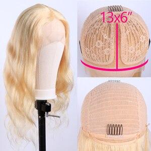 Image 2 - Peluca de cabello humano brasileño Remy de 28 pulgadas Peluca de cuerpo medio ondulado 13*1 con encaje frontal, prearrancada con pelo de bebé, 613 Rubio