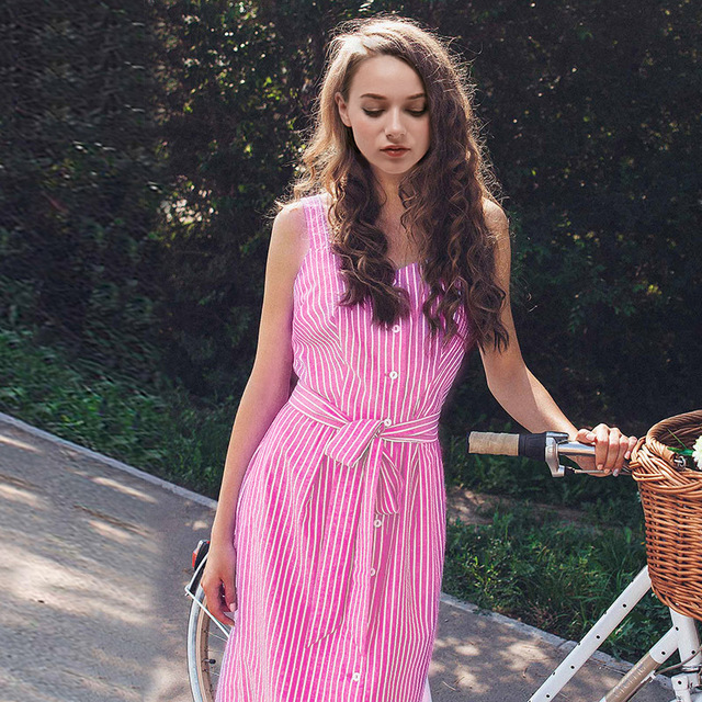 Striped Sleeveless Woman Pink Dress Button Suspender High Wasit Fashion Ladies Dresses Party Beach Summer Clothing Vestidos