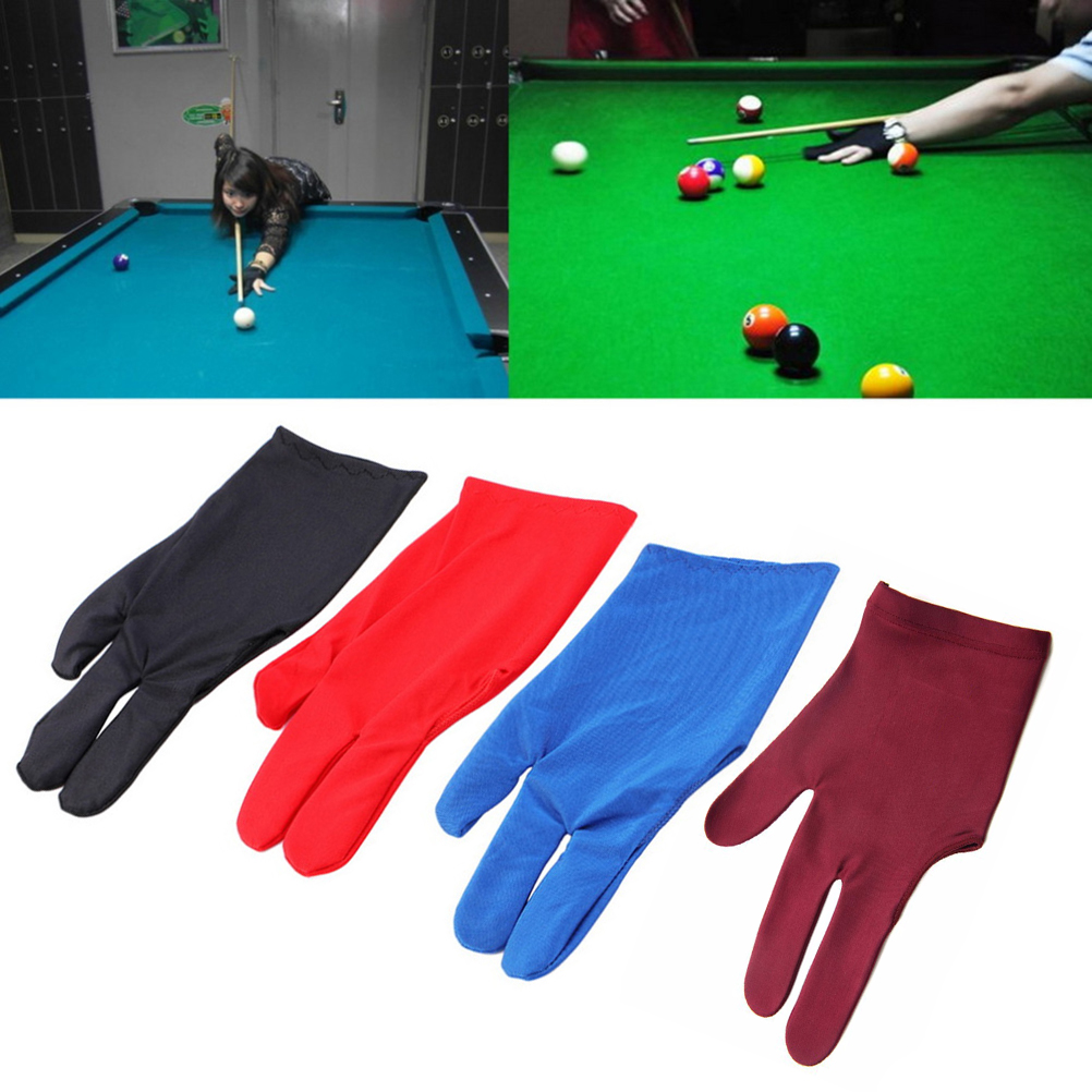 1Pcs Spandex Snooker Billiard Cue Glove Pool Left Hand Open Three Finger Accessory For Unisex Women And Men 4 Colors