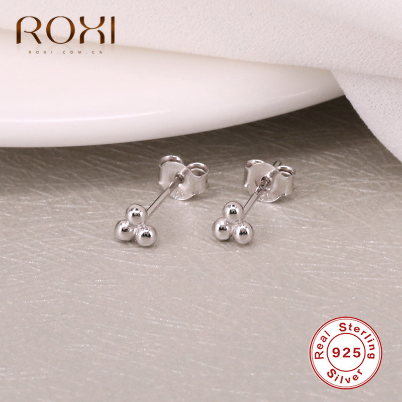 ROXI 100% 925 Sterling Silver Jewelry Minimalist Three Ball Stud Earrings for Women Jewelry Dainty Mini Cute Earrings Brincos