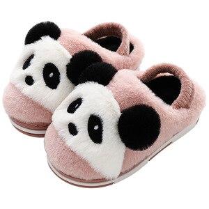Image 5 - 2019 חורף נעלי ילדי כותנה נעלי בית Cartoon סגנון חם פו פרווה ילדים מקורה נעלי בית בני בנות חם רצפת שקופיות KD10042