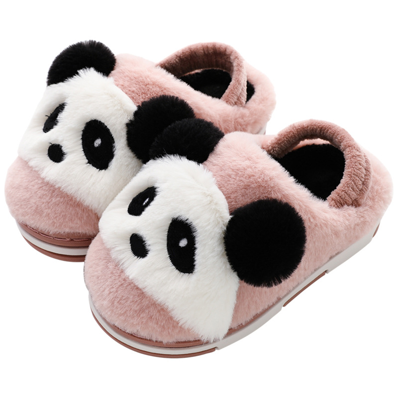 Image 5 - 2019 Winter Shoes Kids Cotton Slippers Cartoon Style Warm Faux Fur Children indoor Slippers Boys Girls Warm Floor Slides KD10042Slippers   -