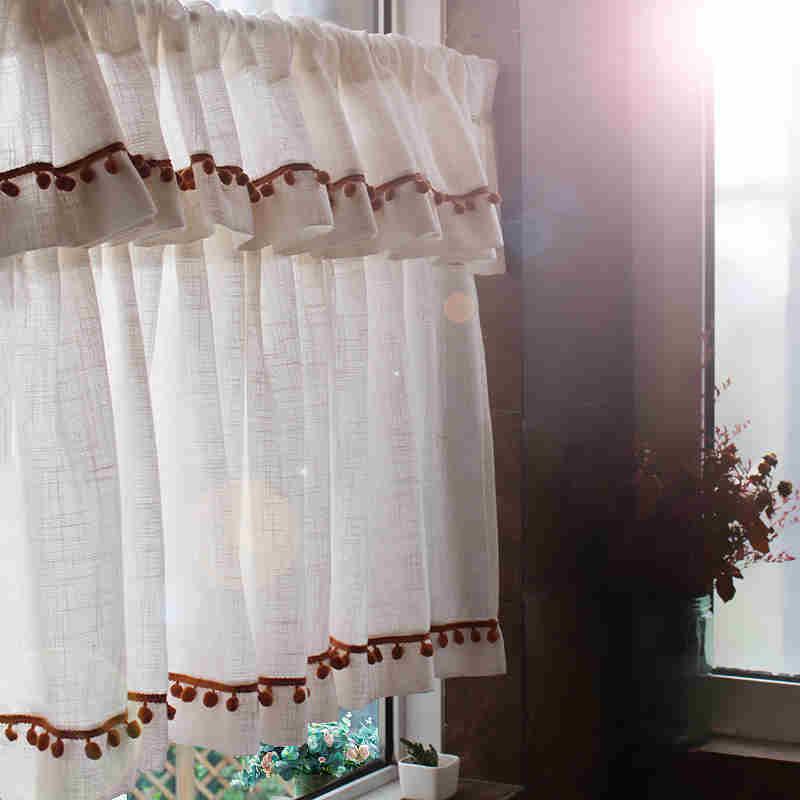 Бесплатная доставка Высокое качество тюбик вышивка занавеска двухслойная кружевная кофейная занавеска для кухни Короткая занавеска небол...