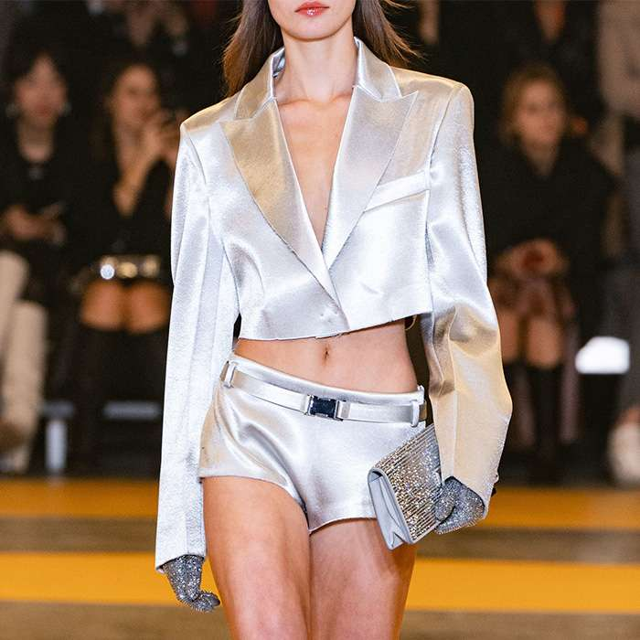 2020 Spring New Silver Smoothly Long Sleeve Cut Fitted Blazer And Short Set High Street Runway Show Ins.Pop Popular Fashion Chic