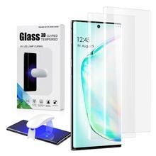 מלא דבק ננו נוזלי UV מזג זכוכית לסמסונג גלקסי הערה 10 UV מסך מגן לגלקסי Note10 בתוספת מעוקל זכוכית