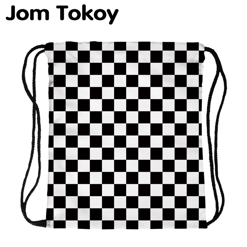 JomTokoy New Fashion Women Drawstring Backpack Black And White PlaidPrinting Travel Softback Women Mochila Drawstring Bags