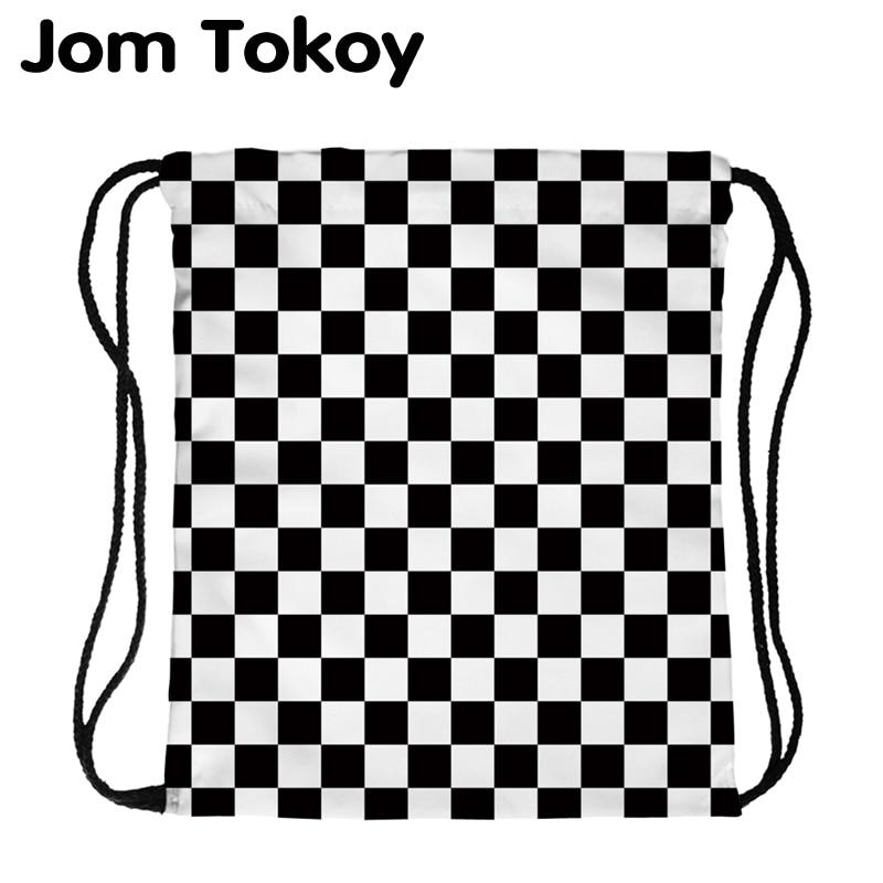 JomTokoy New Fashion Women Drawstring Backpack Black And White PlaidPrinting Travel Softback Women Mochila Drawstring Bags