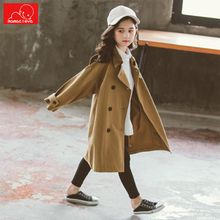 Spring Autumn Girls Trench  kids Double-breasted windbreaker  Children Jackets Outerwear  Coats  Teenage  Jackets  Outfits