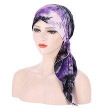 Helisopus nowa muzułmańska aksamitna Turban Headwrap dla kobiet wstępnie wiązana Chemo czapki czapki chustka na głowę chustka na raka Hijabs akcesoria